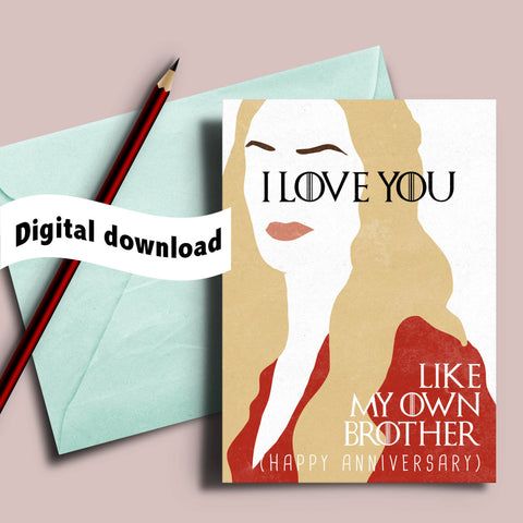 picture about I Love You Card Printable known as Printable Match of Thrones take pleasure in card, Cercei Lannister \