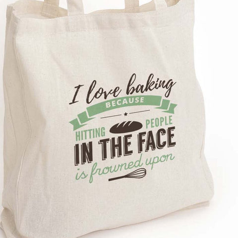 "Gift for her, I love baking eco tote bag, ""because punching people is frowned upon"", Baker gift, food lover gift, Canvas Eco Tote Bag"