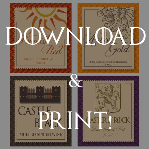 Printable Got Party Wine Labels For Game Of Thrones Party