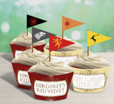 Game of Thrones Birthday Party, Printable decor Game of Thrones party decor, wine labels, popcorn bag, water bottle labels, cupcake wrappers