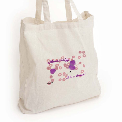 "Hematology tech tote bag, ""It's a blast!"" lab tech gift"