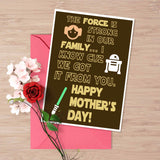 Star wars Mother's day card, Star wars humor, The force awakens, Princess Leia, Star wars fan gift, the force is strong, Luke Skywalker