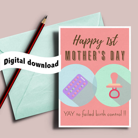 failed birth printable, new mom card, first time mom, sarcastic card, card from husband, witty mother's day