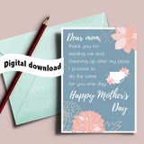 I promise diaper printable, mother's day gift, mothers card, sarcastic card, black humor, thank you mom, mom best friend