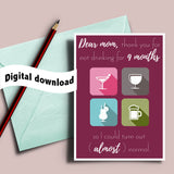 9 month rehab printable wine and cocktail, snarky mom card, sarcastic card, Mother best friend, witty mother's day, funny card for mum