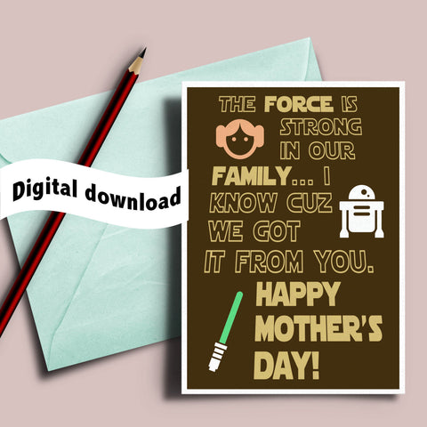 graphic relating to Funny Printable Mothers Day Cards called Printable Star Wars Moms working day card for geeky mother and Star Wars enthusiast \