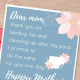 I promise diaper, change my diaper,  mother's day gift, mothers day card, sarcastic card, black humor, thank you mom, mom best friend