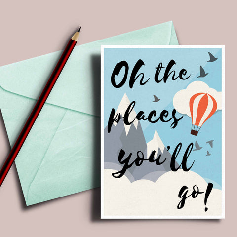Dr.Seuss quote card, oh the places you'll go, Graduation card, inspirational card, Dr Seuss quote, graduation invitation, graduation gift