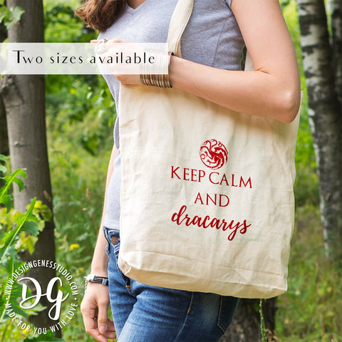 Game of Thrones Daenerys Targaryen Keep Calm and Dracarys canvas tote bag