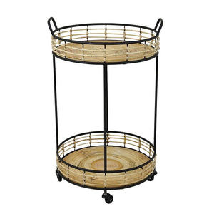 Reagan Metal and Rattan Table with Wheels