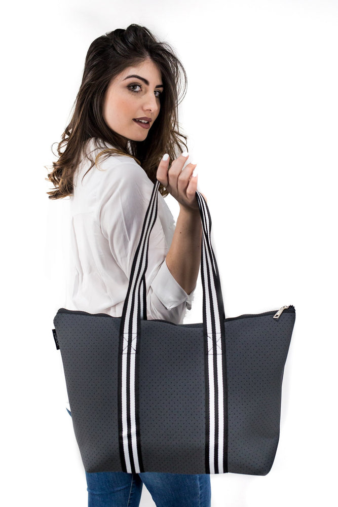 Punch Stripe Tote Charcoal