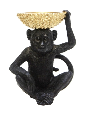 Monkey with Gold Bowl - Black and Gold