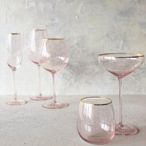 Crystal Tumbler - Pink Gold Trim