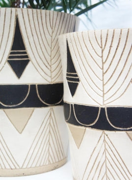 Huda Vase/Pot - Black and White
