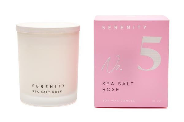 Serenity Signature - Sea Salt Rose Glass Candle 10oz