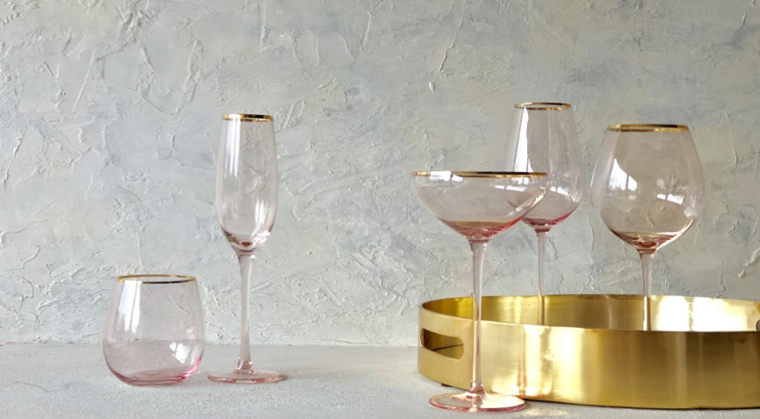 Crystal Wine Glass - Pink Gold Trim