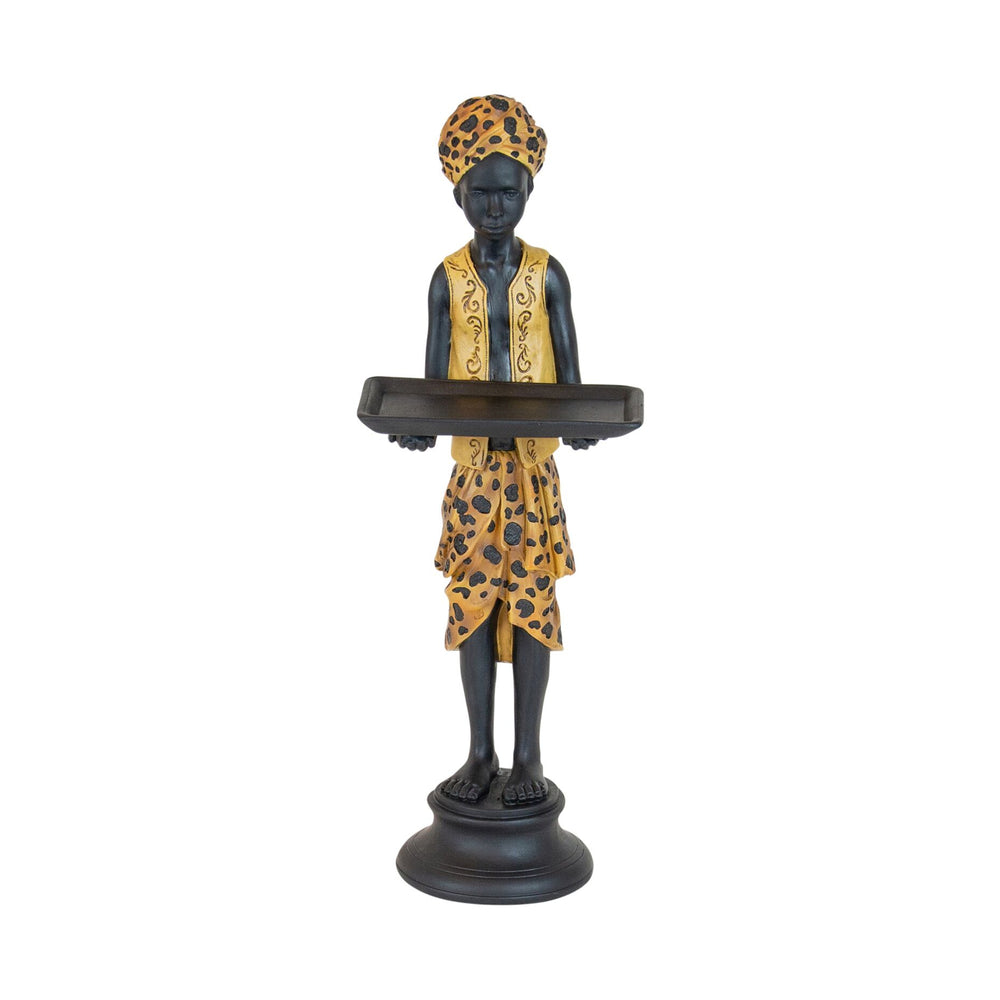 Rhodesia Resin Leopard Man with Tray