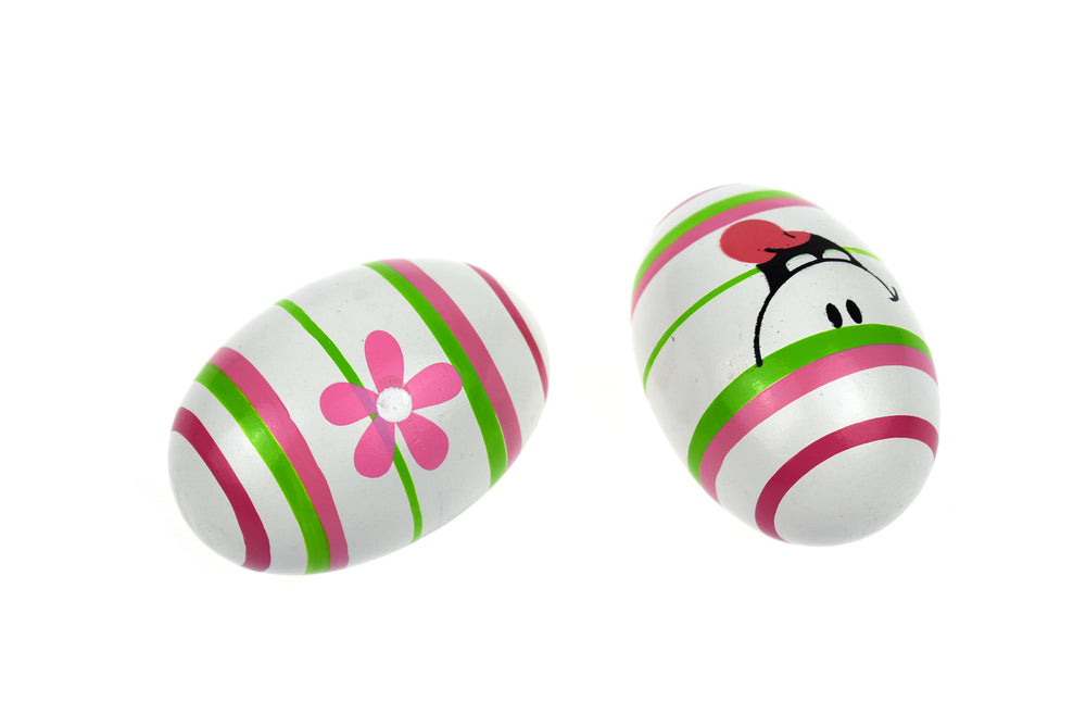 Shaker Eggs - White, Pink and Green