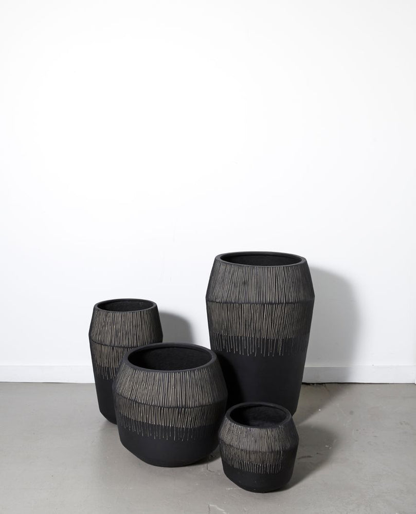 Marmont Tall Textured Black Planter - Assorted Sizes
