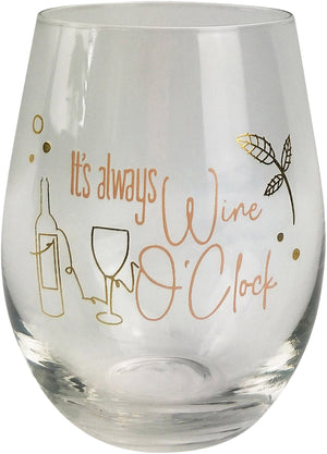 Its Always Wine O'Clock Wine Glass - Pink