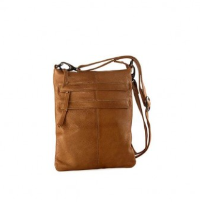 Wendy - Leather 2 Front Zip Sling - Tan