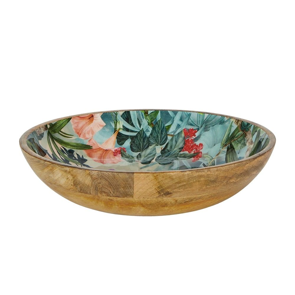Wild Flower Mango Wood Bowl