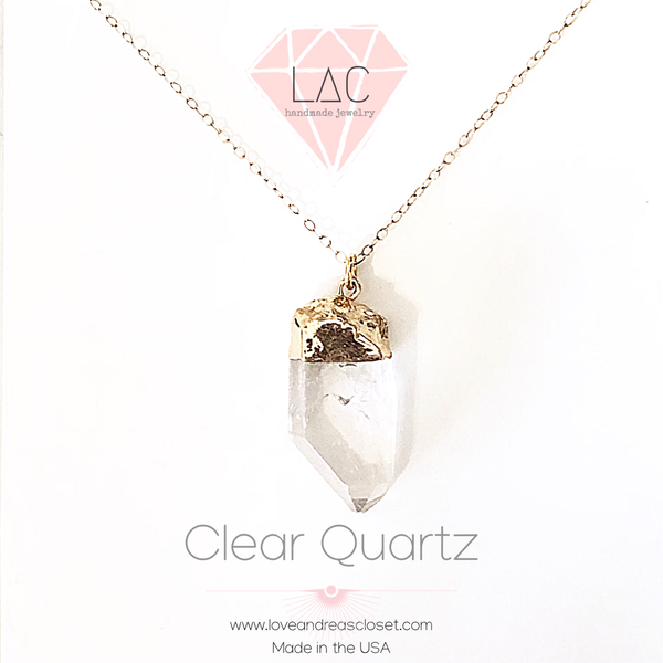 Quartz Necklace Clear Crystal Pendant Gold Chain 14K for women Gemstone - Love Andrea's Closet