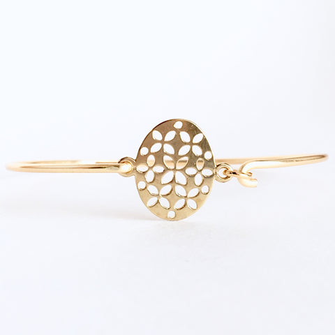 Floral Filigree Bangle Bracelet - Love Andrea's Closet
