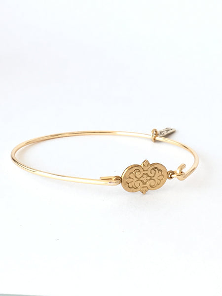 Vintage Floral Brass Connector Bangle Bracelet - Love Andrea's Closet