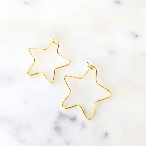 Big Stars Hoop Earrings - Love Andrea's Closet