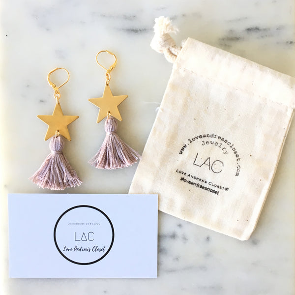 Statement Earrings - Stars + Tassel Chandelier - Love Andrea's Closet
