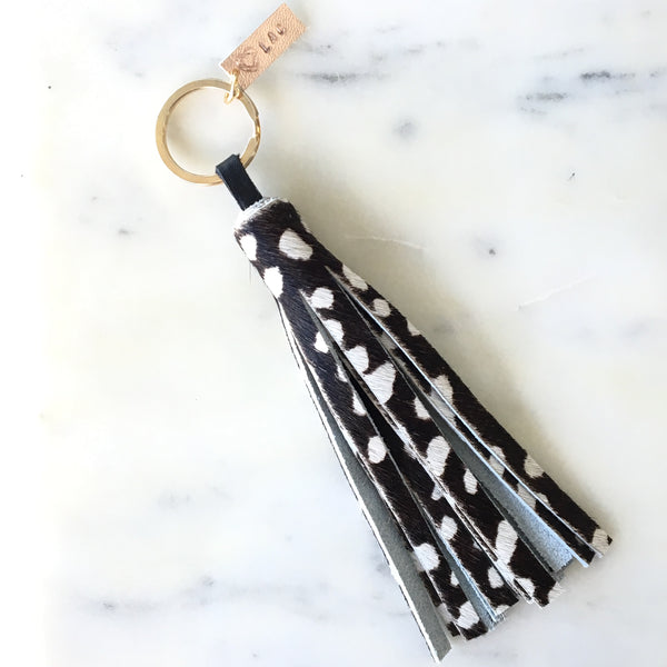 Cheetah Black and White Leather Bag Charm - Keychain - Love Andrea's Closet