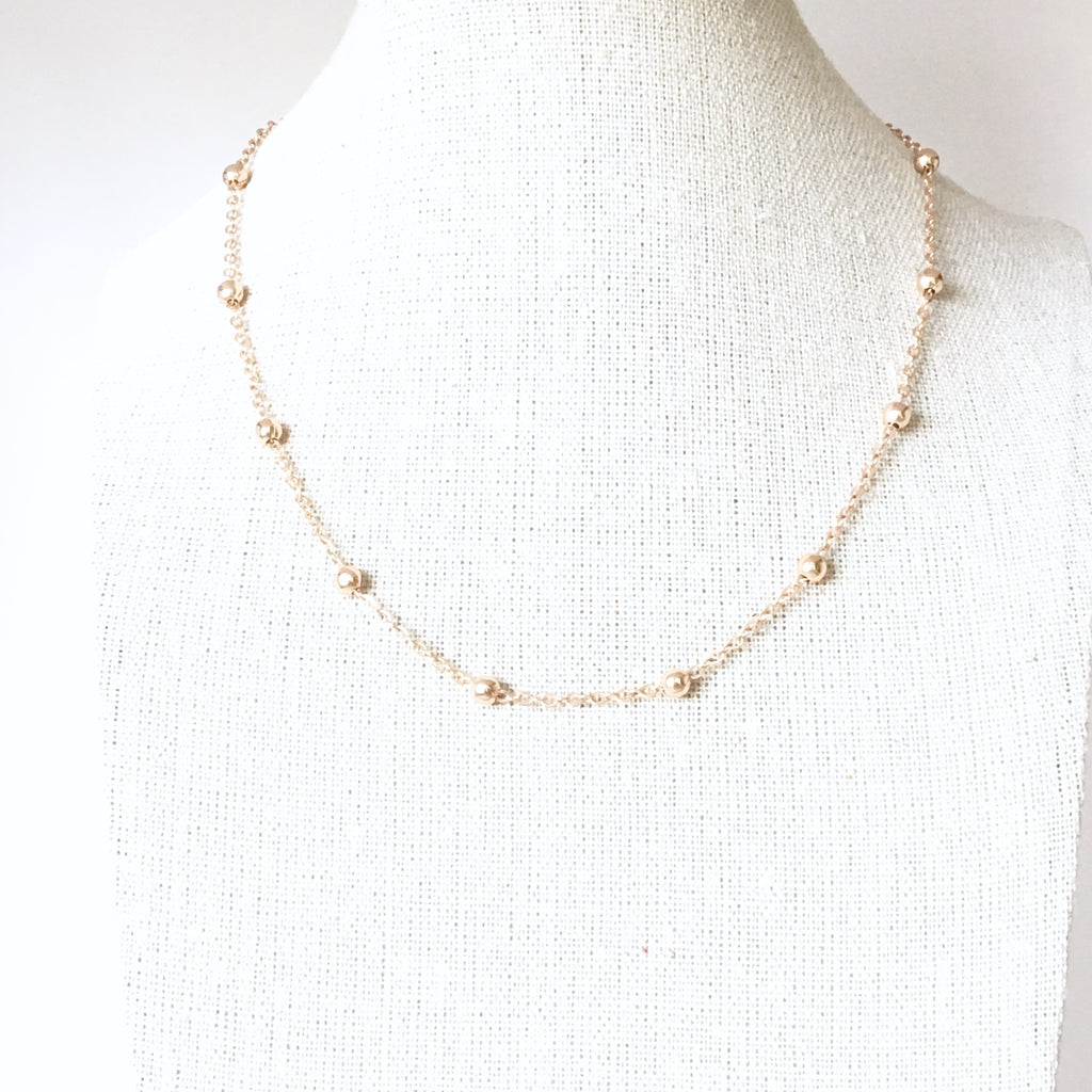 Satellite Choker Necklace - Gold Plated Beaded Ball necklace - Love Andrea's Closet
