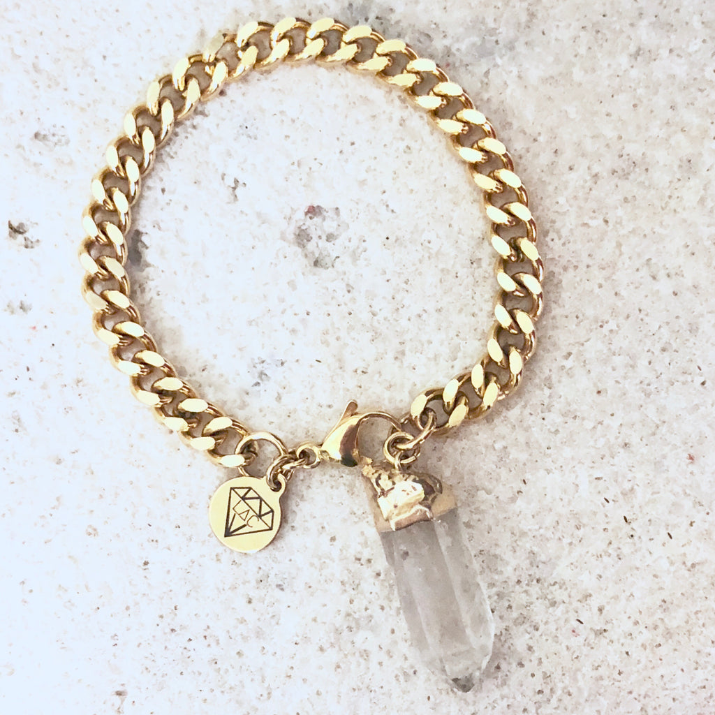 Genuine Quartz Chained Bracelet - Edgy look gold plated chain - Love Andrea's Closet