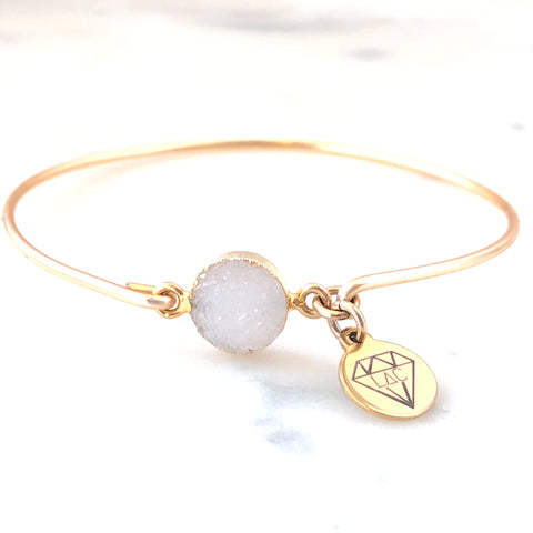 White Druzy Bangle Bracelet - Love Andrea's Closet