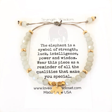 Elephant Bracelet Special message, inspirational, intentional. Strength, wisdom - Love Andrea's Closet