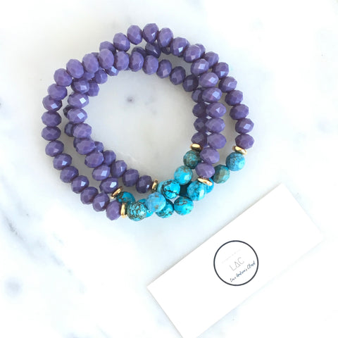 Wonder Beaded Bracelet -Plum and Turquoise Bracelet - Love Andrea's Closet