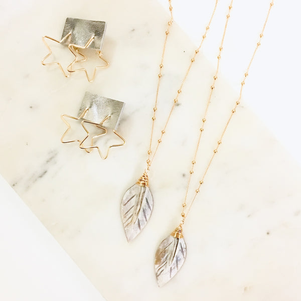 Mother of Pearl Leaf Necklace - Love Andrea's Closet