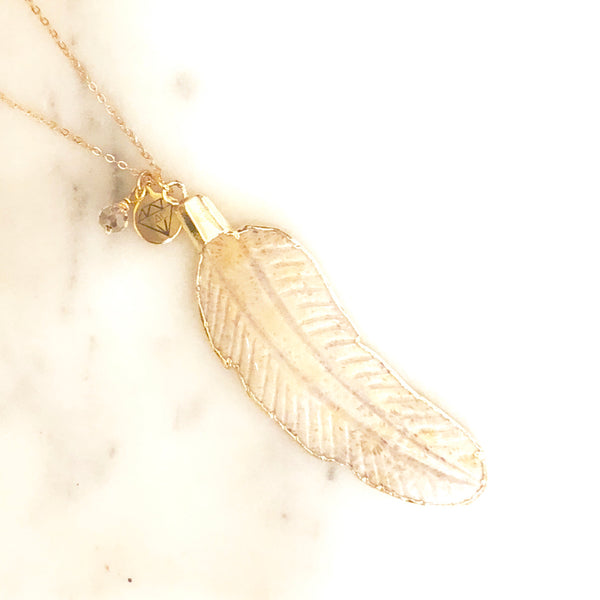 Feather Long Necklace - Love Andrea's Closet