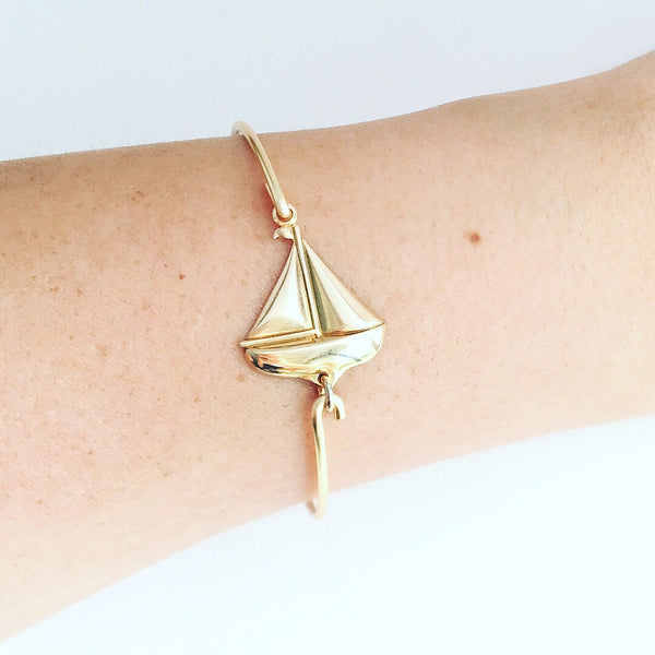 Sailboat Boat Charm Bangle Bracelet - Love Andrea's Closet