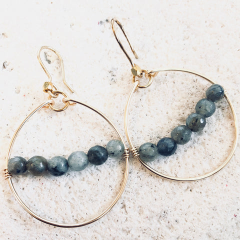 Labradorite Hoop Earrings - Love Andrea's Closet