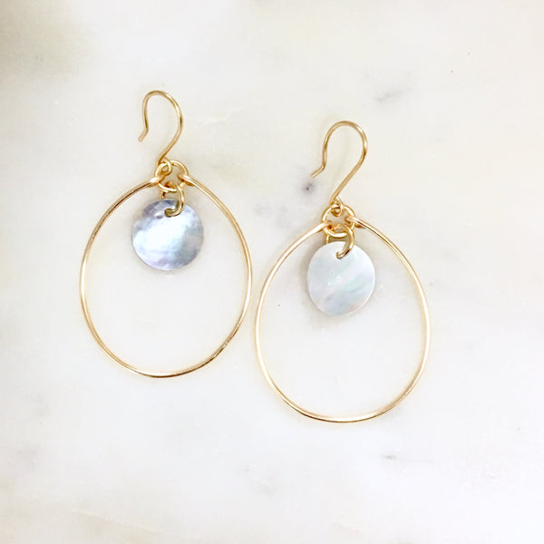 Mother of Pearl Hoop Earrings - Love Andrea's Closet