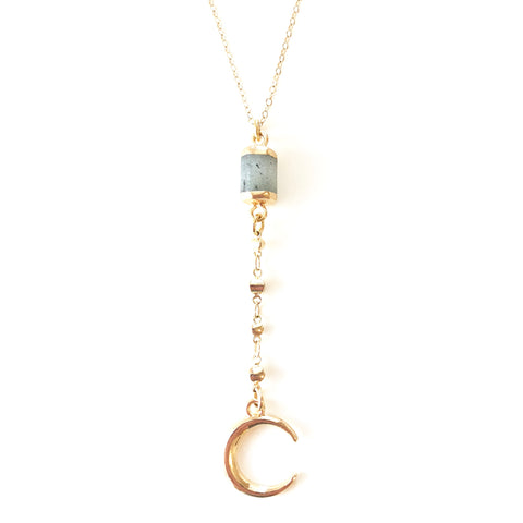 Crescent Charm Labradorite Gemstone Lariat Necklace