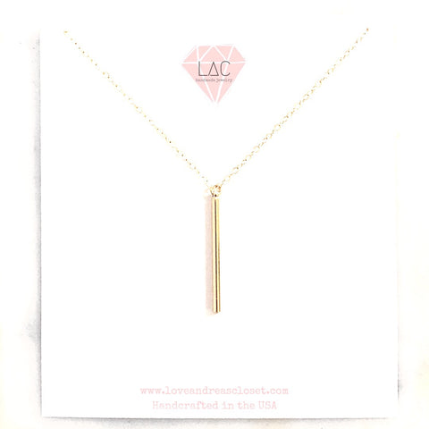 Gold Bar Necklace 14k gold filled chain - Love Andrea's Closet