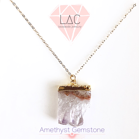 Amethyst Gem Stone Pendant Necklace - Love Andrea's Closet