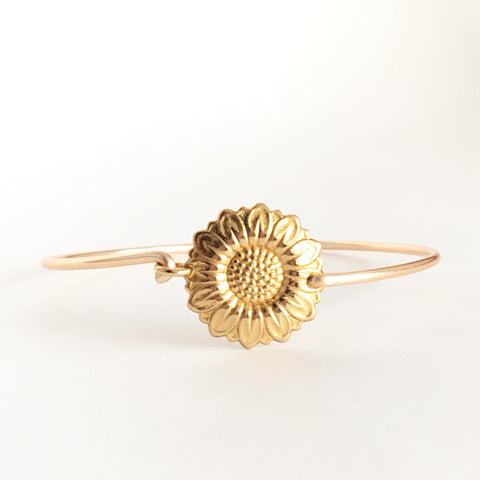 Sunflower Bangle Bracelet - skinny bangle layered bracelet - Love Andrea's Closet
