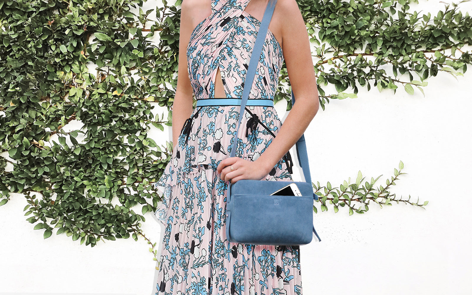 Spring racing bag with phone charger blue bag leather bag