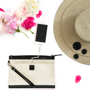spring racing bag canvas and leather clutch bag with phone charger