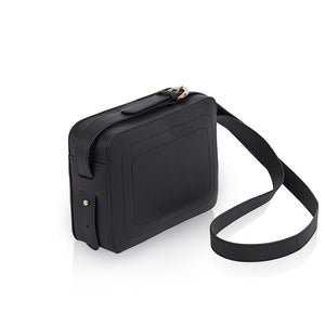 Dylan Crossbody Bag with Built-in Phone Charger - Black Leather Gold Hardware