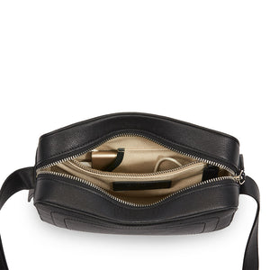 Dylan Crossbody Bag with Built-in Phone Charger - Black Leather Silver Hardware (Low Stock)